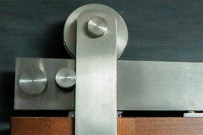 Elegant and modern Goldberg Brothers Stainless Steel Series barn door hardware