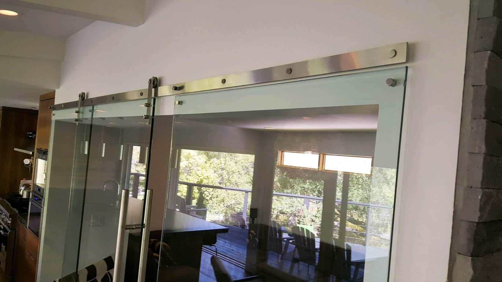 sliding glass doors with stainless steel barn door hardware