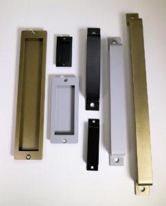an assortment of door handles for sliding barn doors