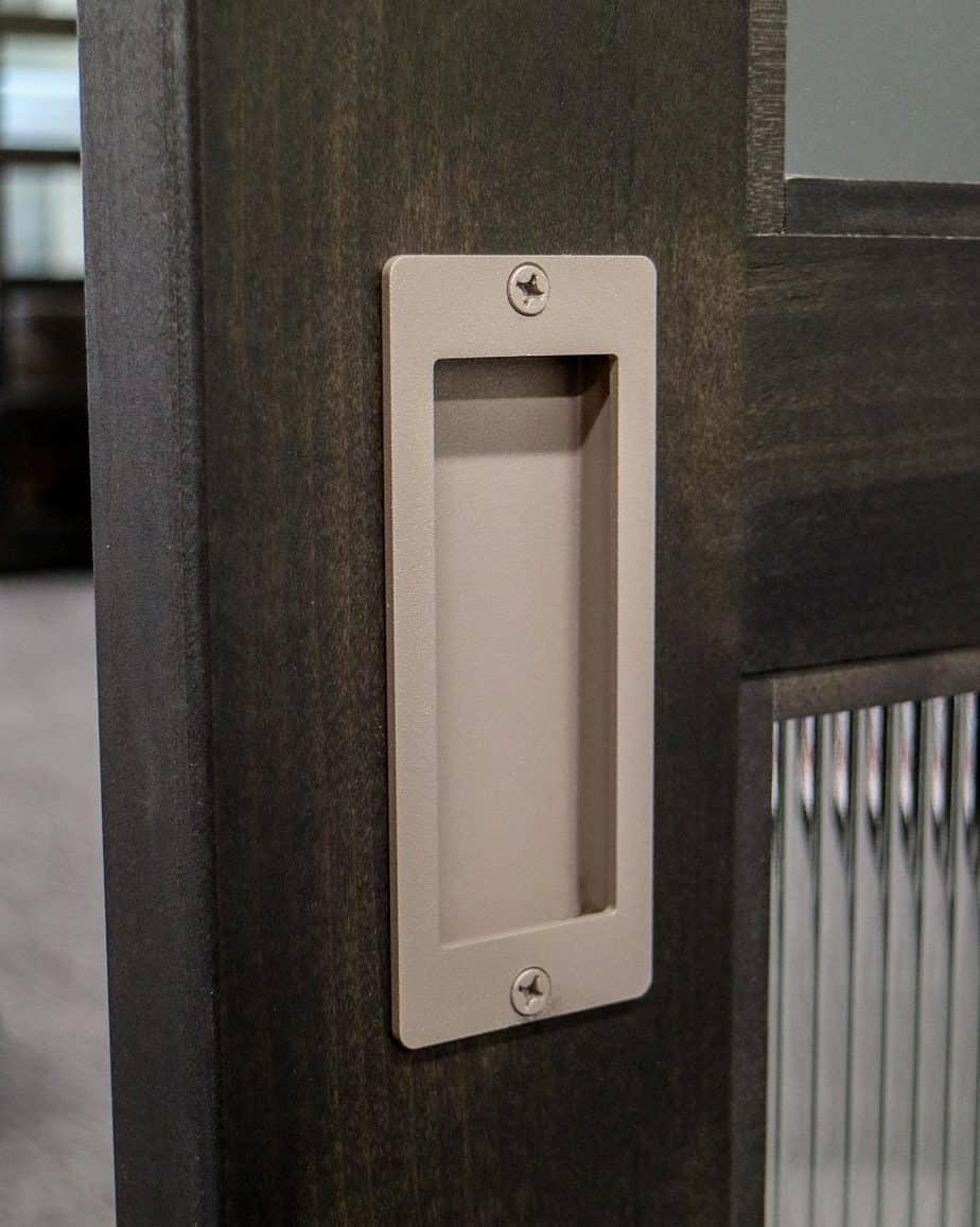 office door with steel flush pull handle
