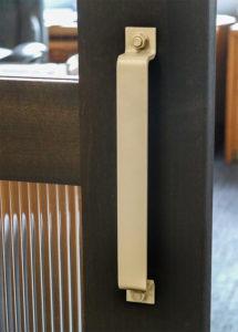 steel pull handle on office door