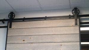 shiplap slat door with steel edge channels