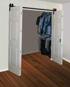 Goldberg Brothers Barnfold door hardware for four door panels, open position