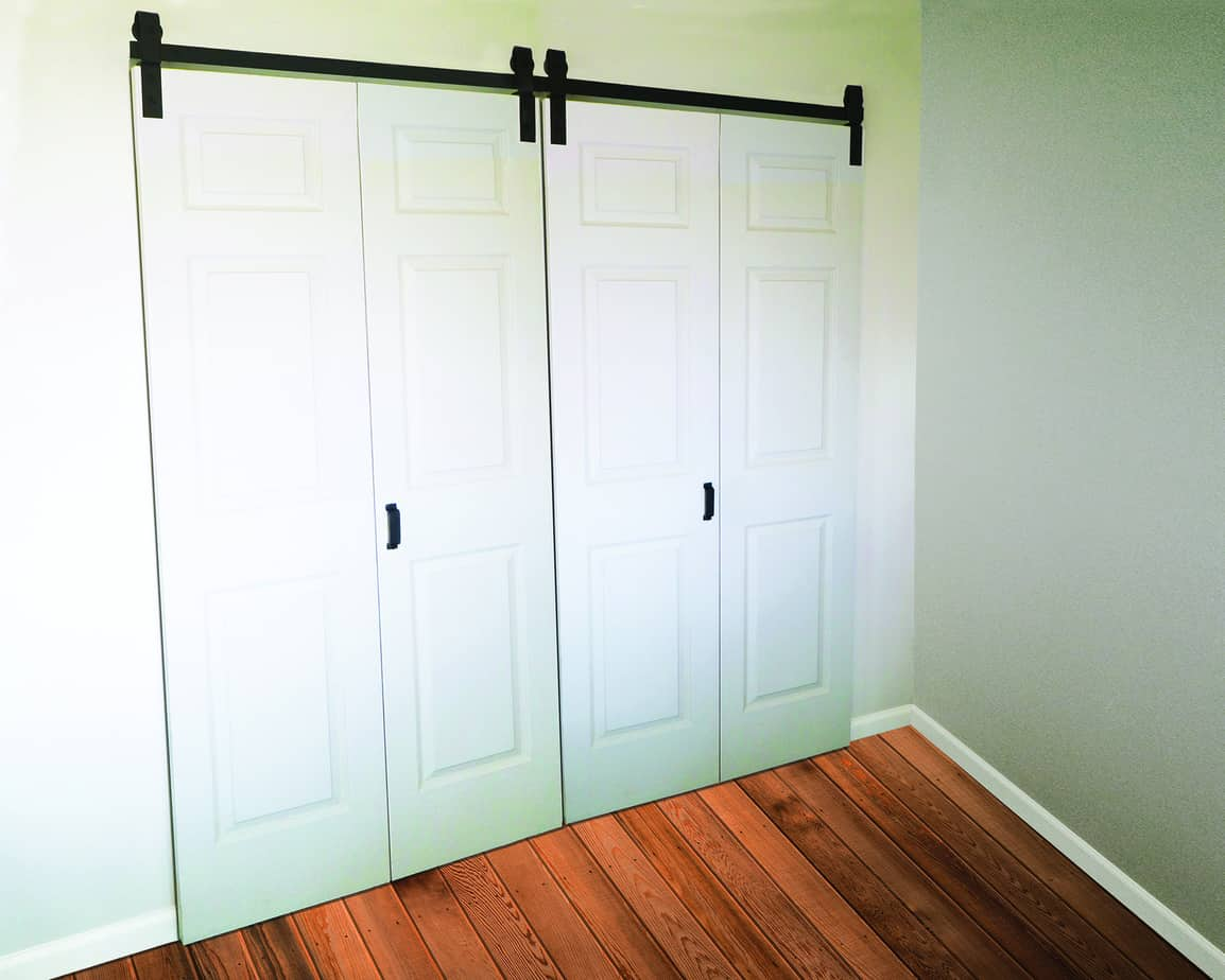 Goldberg Brothers Barnfold door hardware for four door panels, closed position