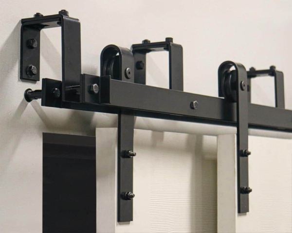 MP series barn door hardware with bypass brackets